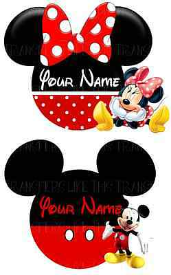 Mickey Minnie Mouse Faces Heads Iron On Heat Tshirt Transfer Personalised Lot Mf