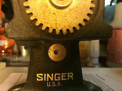 Vintage Singer Hand Crank Fabric Cutter table mount,
