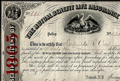 RARE 1865 MUTUAL BENEFIT LIFE INS NEWARK NJ STOCK w 4 VIGNETTES! ONLY 1 ON EBAY!