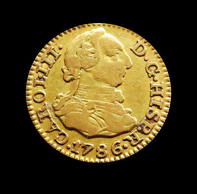 1786 Dv Gold Spain Europe 1/2 Escudo Carlos Iii Coin-Extremely Fine -Madrid Mint