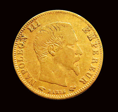1856 A Gold France Europe 5 Francs Napoleon Iii Coinage Very Fine