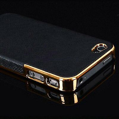 Luxury Leather Chrome Hard Back Case Cover For iPhone 5 5S Black Gold.