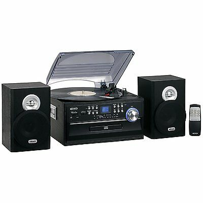 JENSEN 3-SPEED HOME STEREO CD CASSETTE RECORD PLAYER TURNTABLE AM/FM RADIO