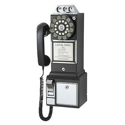 Coin Pay Phone Crosley Classic 1950s Wall Dial Corded Old Telephone Vintage NEW