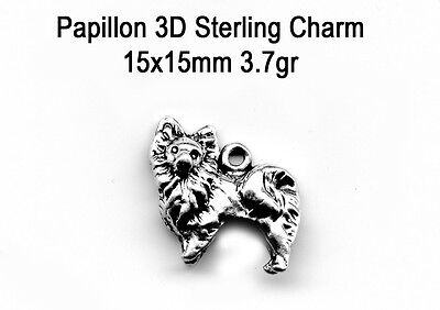 Sterling silver PAPILLON 3D Dog  Charm apx 3.7Gr