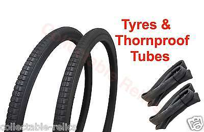 """Pair 20 X 1 3/8 Bike Tyres 37-451 Thornproof Tubes Bicycle """" Wheelchair 2X 845A"""