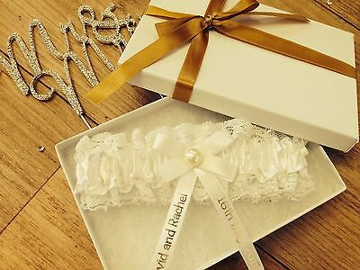 Personalised Wedding Garter Ivory White Gold Bride Present Gift Boxed Pg101Gb