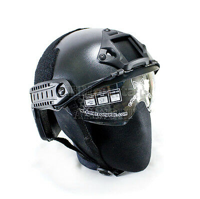 Emerson Clear Len Helmet with NVG Mount Two Side Rail / Black (KHM Airsoft)