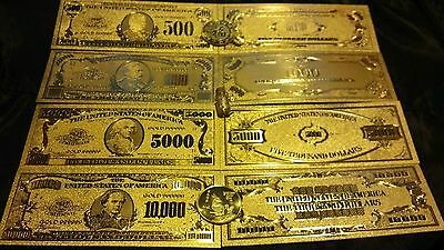 ~6Pc.LOT~REAL24K U.S BANKNOTES($10000,5000,1000,500)/GOLD COIN/GOLD FLAKE!