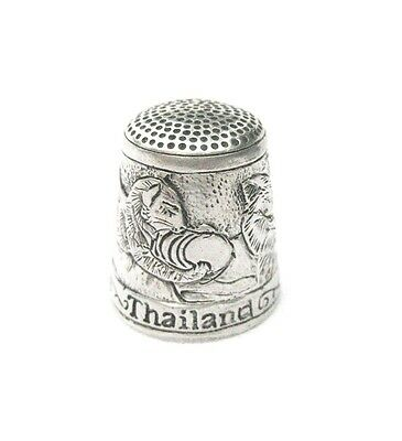 Pewter Fingerstall Thimble Souvenir Thailand Collection Pussycat #6
