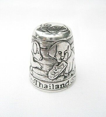 Pewter Fingerstall Thimble Souvenir Thailand Collection Puppies #5