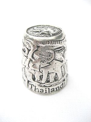 Pewter Fingerstall Thimble Souvenir Thailand Collection Elephant #2
