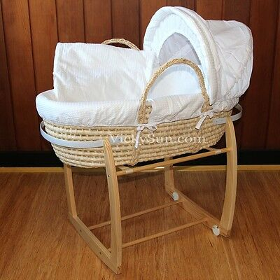 Baby Moses Bassinet Natural Wooden Side Rocking Stand White Waffle Bedding
