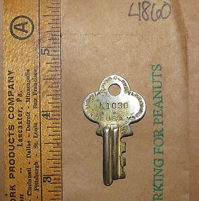 Standard Stamping Steamer Trunk Foot Locker Key L1030 Vintage Old Skeleton ~4860