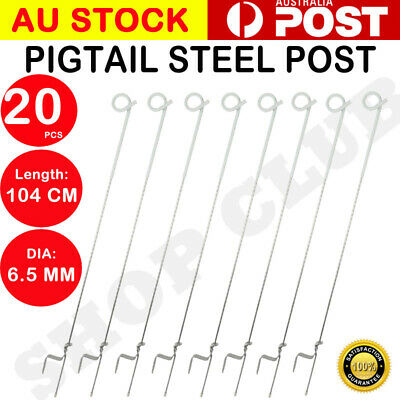 AU 20x Tread In Pigtail Steel Post Posts Electric Fence Pig Tail Strip Graze