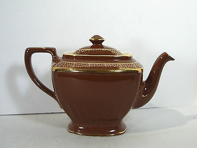 Hall Teapot Hollywood Regency Chocolate Brown Gold Vtg 1930s 8 Cup Model 0102