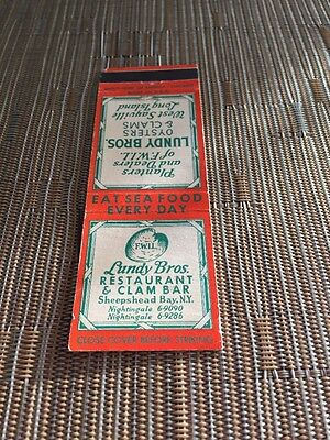 lundy bros restaurant and clam bar matchbook sheepshead ny low number