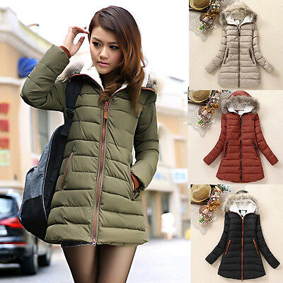 Fashion Women Faux Fur Hooded Hoodies Down Coat Jacket Slim Winter Long Outwear