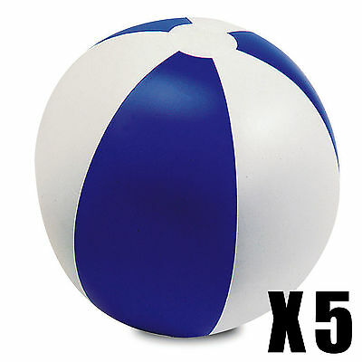 FIVE INFLATABLE PANEL BEACH BALLS SWIMMING POOL PARTY NOVELTY HOLIDAY TOY