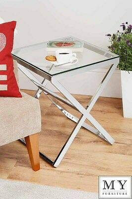 Anikka Modern chrome and glass bedside side table lamp table