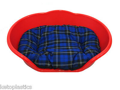SMALL Plastic RED Pet Bed With BLUE TARTAN Cushion Dog Cat Sleep Basket, puppy
