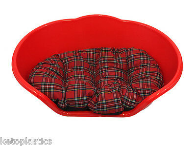 SMALL Plastic RED Pet Bed With RED TARTAN Cushion Dog Cat Sleep Basket, puppy