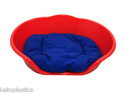 SMALL Plastic RED Pet Bed With BLUE Cushion Dog Cat Sleep Basket, puppy
