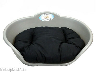 SMALL Plastic SILVER Pet Bed With BLACK Cushion Dog Cat Sleep Basket, puppy