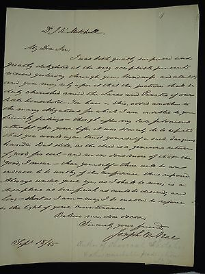 RARE 1845 SIGNED LETTER from JOSEPH CLAY NEAL to JOHN KEARSLEY MITCHELL + SEAL