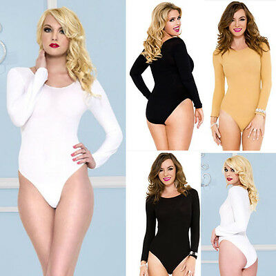 Stretchy Long Sleeve High Cut Teddy Solid Opaque Bodysuit Leotard Scoop Neck Top