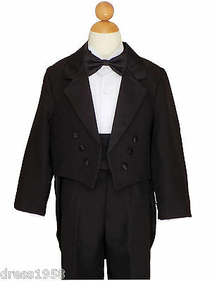 BOYS RECITAL, RING BEARER, WEDDING TUXEDOS With TAILS, BLACK, 2T to 14