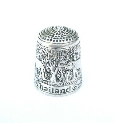 Pewter Fingerstall Thimble Souvenir Thailand Collection Elephant #3