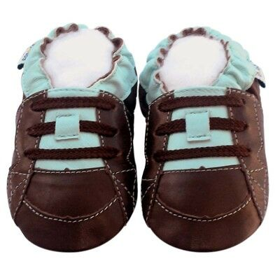 Littleoneshoes Soft Sole Leather Baby Infant Children YakBlue Boy Shoes 6-12M