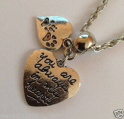 Pet Loss Cat Dog Memorial 'Paw Prints on my Heart necklace with charms CN99A