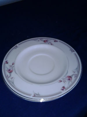 """Sango Heather 6 3/8"""" Saucers set of 2 Pink flowers and band with gold rim"""