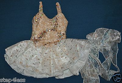 New Child size Medium Ivory and gold  TuTu Performance Pageant Stage Dance Dress
