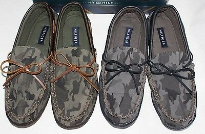 New TOMMY HILFIGER Men's Bridge Slippers Mocassins Camouflage Army Print 9 10