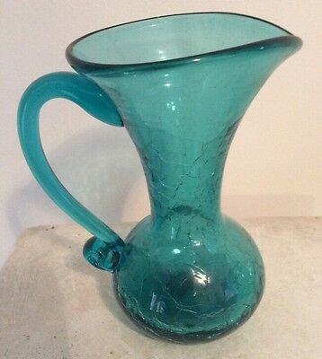 "VINTAGE BLUE ART CRACKLE GLASS MINIATURE 5""  PITCHER W PONTIL"