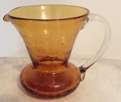 "VINTAGE Amber ART CRACKLE GLASS MINIATURE  31/2"" PITCHER W PONTIL"