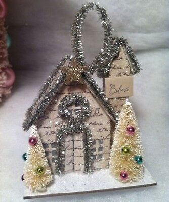 Paper Putz house with Bottle Brush trees Christmas tree Ornament