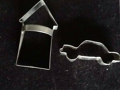 Lot Of 2 Metal Cookie Cutters Car And House Shapes