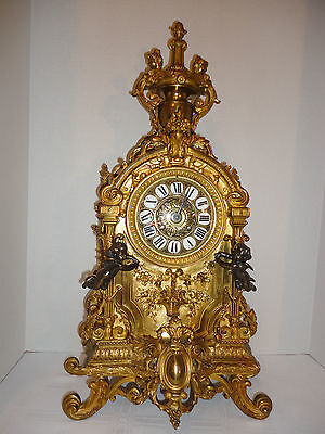 "ANTIQUE EMPIRE FRENCH CLOCK FIRE GILT 25"" TALL SOLID BRONZE 2 CHERUBS 2 MAIDENS"