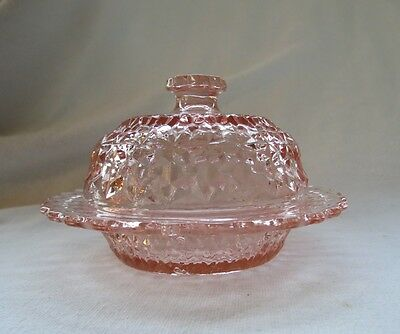 Jeannette Pink Glass Holiday Button and Bows Lidded Butter Dish c. 1940s