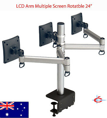 "Laser LED LCD Arm / stand Multiple Screen Rotatable 24"" Monitor TV"
