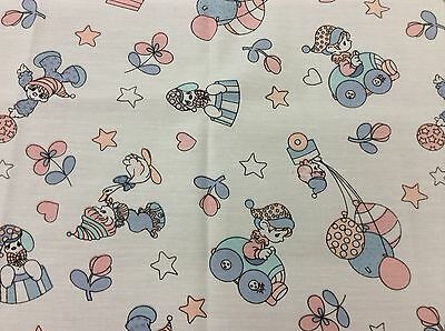 CHILDREN WITH DUCKS & JACK IN THE BOX FABRIC  1 YARD