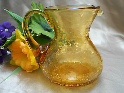 "Vintage Amber Crackle Glass Pitcher Applied Smooth Handle Hand Blown 4 1/5"" Tall"