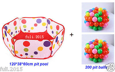 200pcs Pit Balls And Kids Portable Dot Colorful Pit Pool Baby PlayTent Playhut