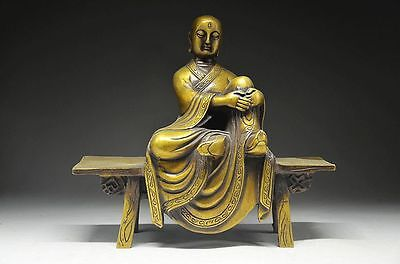 Special Chinese Yellow Copper Fine Bench Buddha  & H S Culture