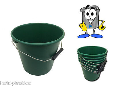 Pack Of 5 Green Plastic Calf Feed Buckets, Heavy Duty With Metal Handle