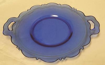 "Mt. Pleasant Cobalt Blue 8 3/4"" Plate with Handles Scalloped Edge - L E Smith"